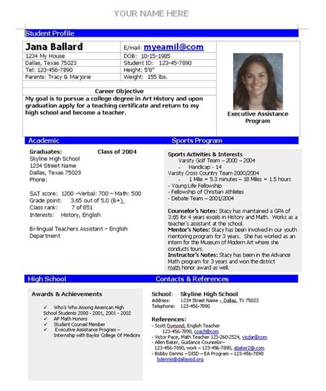 College Admission Resume Template by College Admission Resume Template Home College Planning