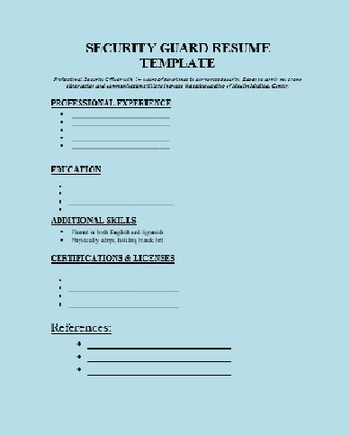 security guard resume template for free security guard resume template free word templates