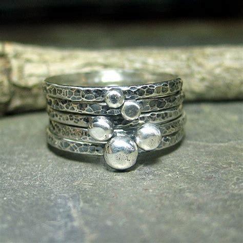 rustic stacking rings pebble rings rings hammered