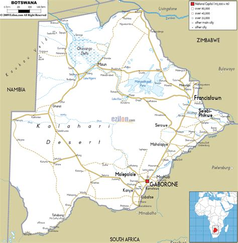 botswana map road map of botswana ezilon maps