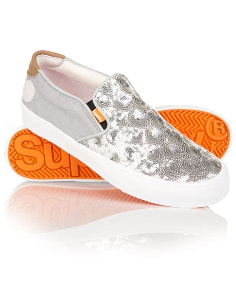new womens superdry dion shoes silver sequin ebay