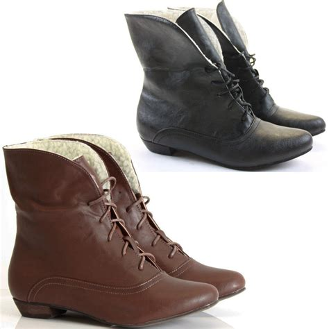 womans flat boots womens ankle boots pixie vintage style winter low