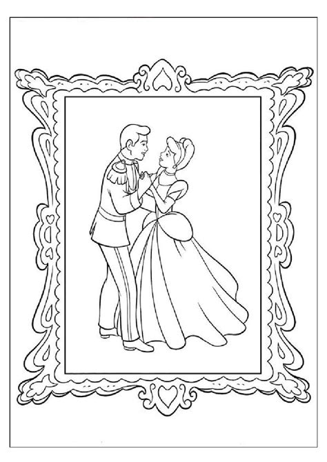 coloring page of cinderella and prince charming kids