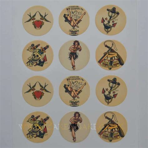 edible tattoo paper edible cupcake toppers x 12 sailor jerry tattoo theme