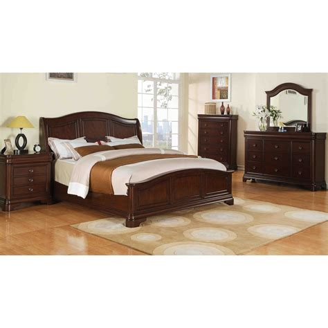 sunset trading ss cm750 k bed set cameron 5 king panel headboard bedroom set in cherry
