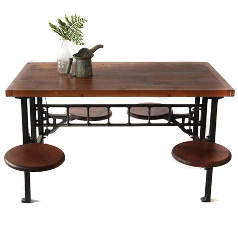 4 seat industrial cafeteria table guymaven