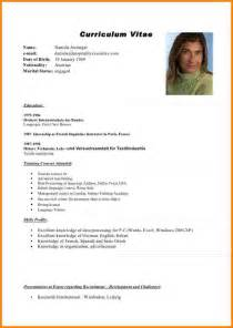 Curriculum Vitae Or Vita by 8 Englisch Cv Resignation Format