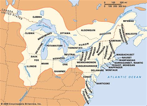 canadian map of indian tribes huron britannica