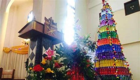 membuat pohon natal dari botol aqua gereja santo servatius bekasi bikin pohon natal dari botol