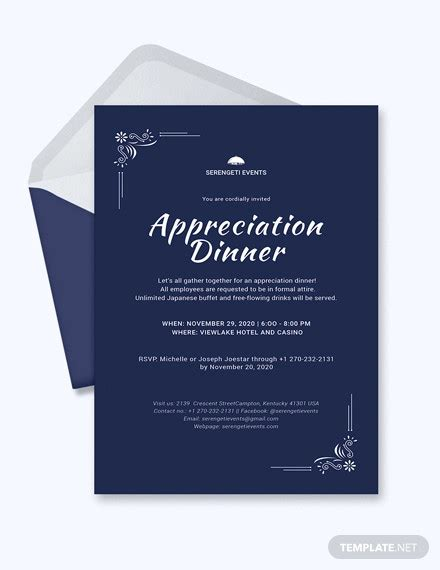 8 Appreciation Dinner Invitations Word Psd Ai Illustrator Publisher Free Premium Templates Appreciation Dinner Invitation Template