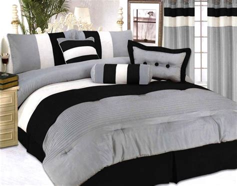 Modern Comforter Set by Modern Jacquard Bedding Comforter Set Black Grey Ebay