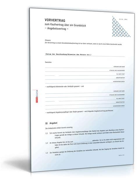 Vorlage Angebot Zurückziehen vorvertrag grundst 252 ckskaufvertrag muster zum