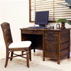Rattan Computer Desk Hospitality Rattan Polynesian Computer Desk With Chair And Keyboard Tray Reviews Wayfair Supply