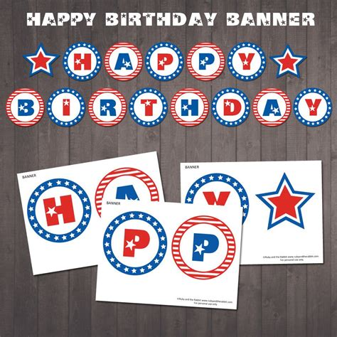 printable happy birthday banner blue instant download patriotic happy birthday banner
