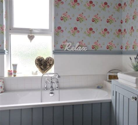 pretty bathroom ideas wood panel wallpaper duck egg blue white bathroom