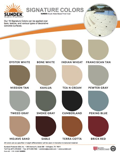 what is color signature colors sundek concrete coatings and concrete