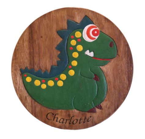 children s wooden step or stool dinosaur design