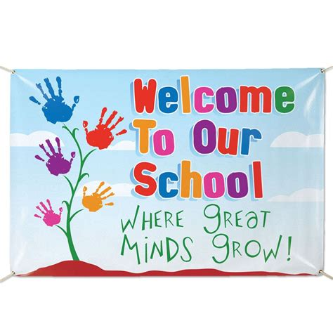 design banner welcome welcome to our school where great minds grow vinyl banner