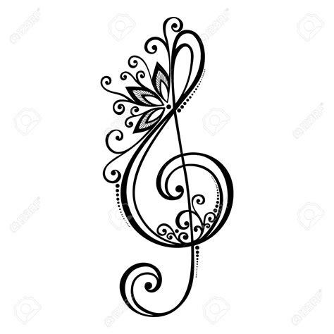 Lc919 Tato Temporer Sticker Joker floral treble clef tattoos search tattoos treble clef treble