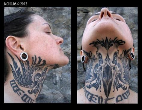neck chin by spider monkey tattoos