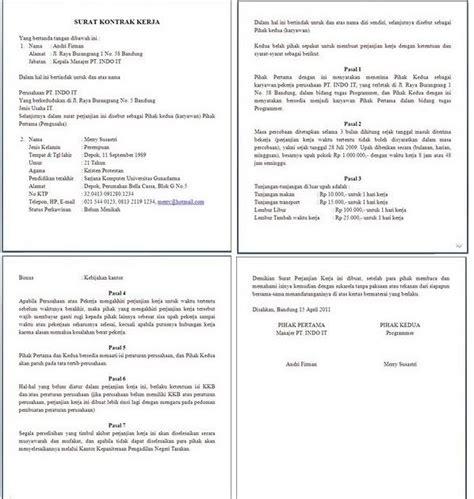 artikel artikel draft kontrak kerja untuk proyek it contoh surat