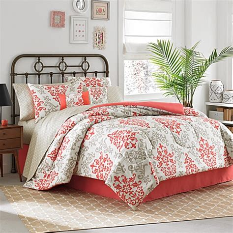 Carina 6 8 Piece Complete Comforter Set In Coral Bed Bed Bath Beyond Comforter Sets