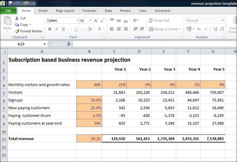 projection template subscription based business revenue projection plan