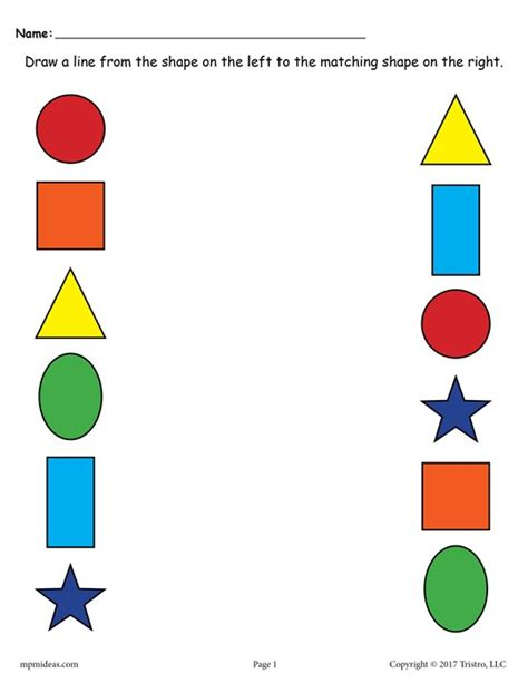 Matching For And - 6 free shapes matching worksheets for preschool toddlers