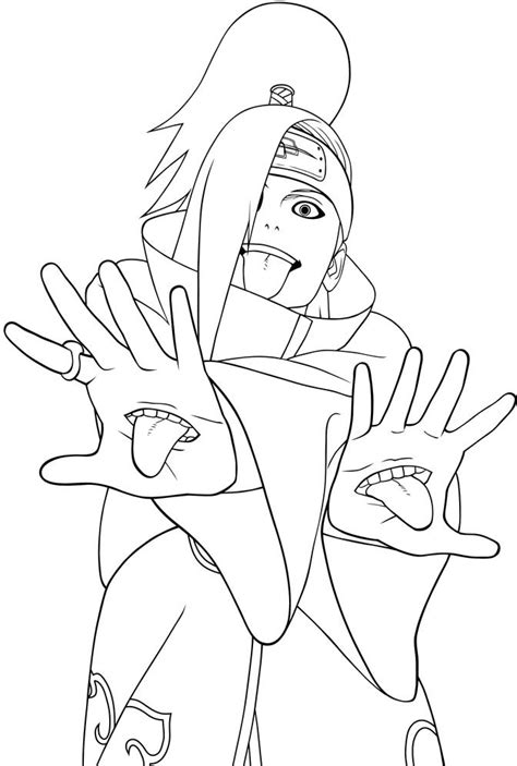 naruto coloring pages akatsuki akatsuki members deidara coloring pages naruto coloring