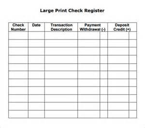 Printable blank check register free printable blank check register