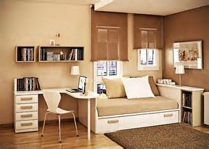 This bedroom depicts a classy design for small space bedroom the brown