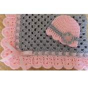 Hand Crochet Granny Square Baby Blanket Hat Pink Gray