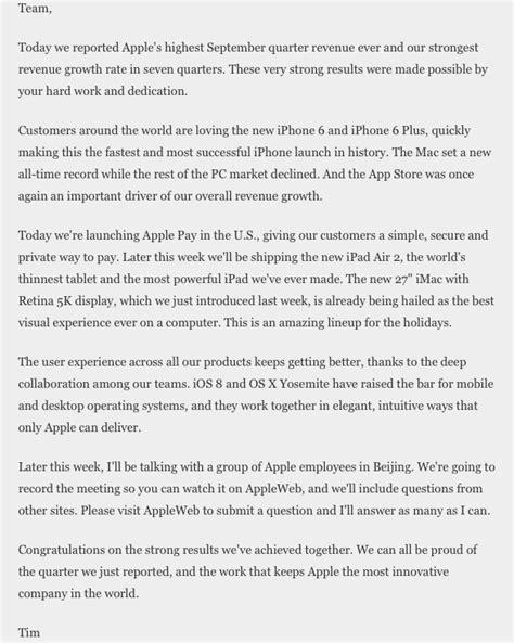 Lettre De Félicitation Entreprise Apple Entreprise La Plus Innovante Au Monde Pour Pdg Tim Cook Dans Une Lettre Pour