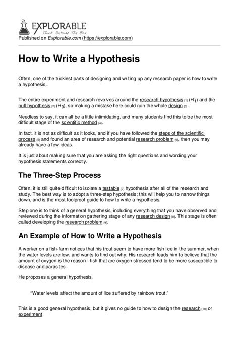 hypothesis exle for research paper how to write a hypothesis