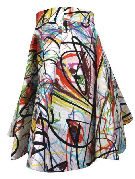 Balon Foil Jas Gaun Suit Gown lyst couture graffiti print skater skirt