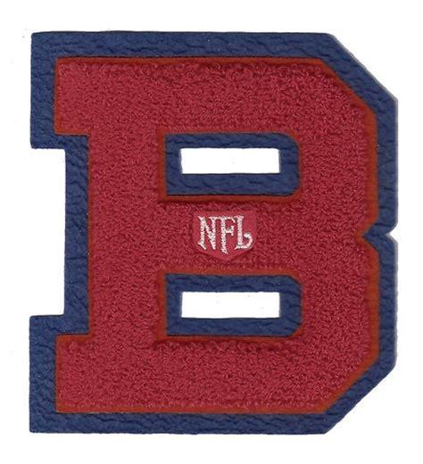 large vintage nfl football red on blue b chenille letter