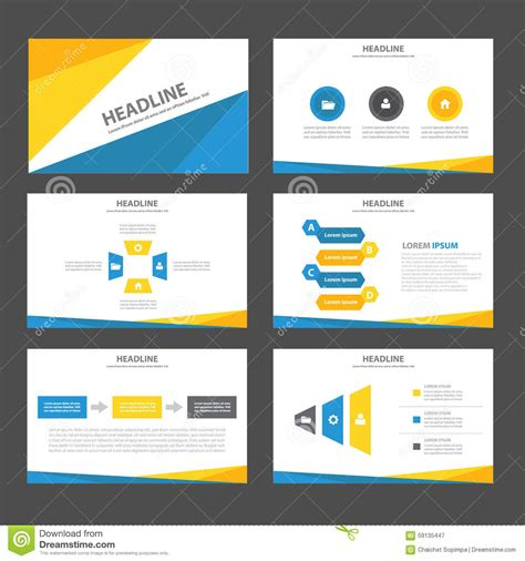 Abstract Blue Yellow Infographic Element And Icon Presentation Templates Flat Design Set For Website Presentation Template