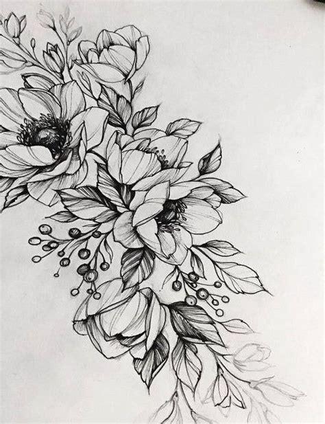 эскизы цветов значение татуировки с цветком Black And White Flower Tattoos 2