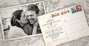 andrew caroline s vintage postcard invite ink wedding invitations