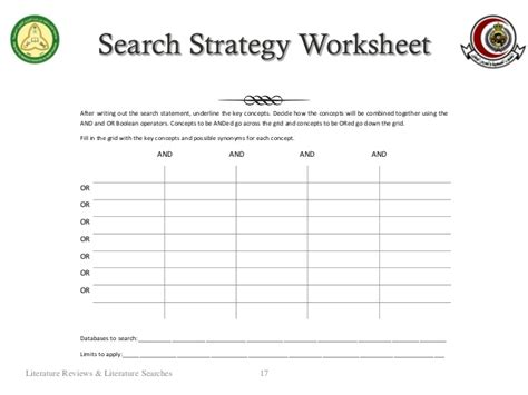 Boolean Search Worksheet by Literature Reviews Literature Searches