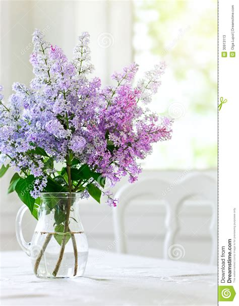 flowers on table bunch lilac flowers in vase on table stock image image