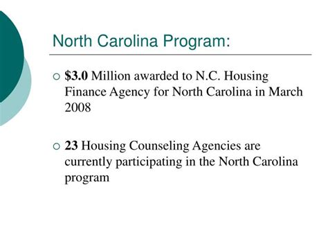 nc housing finance agency ppt north carolina home protection program and loan fund powerpoint presentation