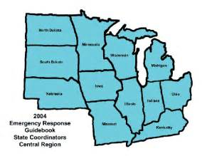 map of central united states central region coordinators