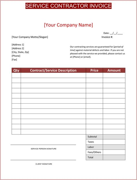 Contractor Invoice Template 6 Printable Contractor Invoices Independent Contractor Invoice Template