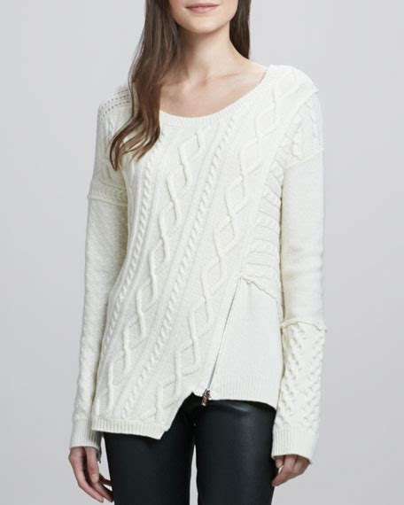 Zip Detail Pullover elizabeth and asymmetric zip detail pullover