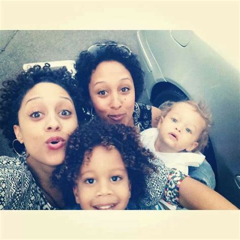 tia and tamera mowry get their twin style on at peta ad tia and tamera mowry with there sons cree and aiden tia