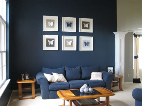 Living Room Wall Table Blue Living Room Decorating Idea With White Cushion On Blue Sofa And Wood Coffee Table Also