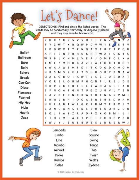 dances with themes crossword clue dance word search worksheet fun words word search