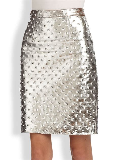 milly studded metallic leather pencil skirt in metallic lyst