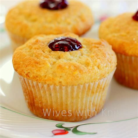 corn muffins raspberry jam corn muffins with knives